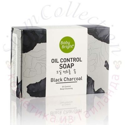 Черное  мыло с бамбуковым углем Black Charcoal Oil Control Soap   55g Baby Bright фото 1